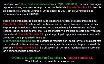 Central de semillas.com, Papá Semilla y nuestros envases de corcho son marcas registradas
