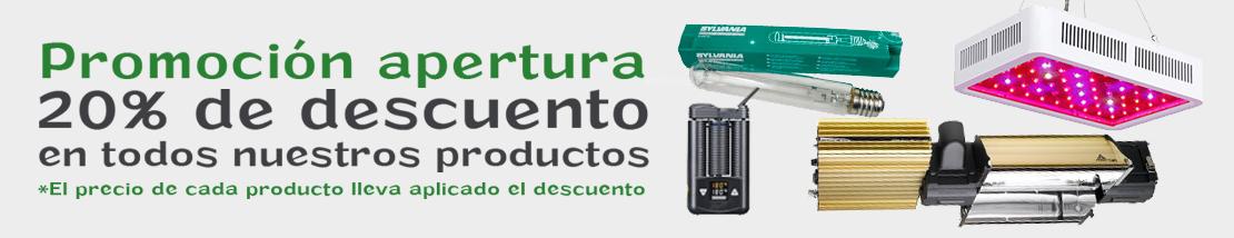 Promoción apertura: 20% de descuento en todos los productos.